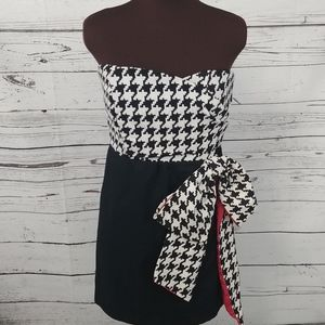 Judith March Houndstooth Strapless Dress